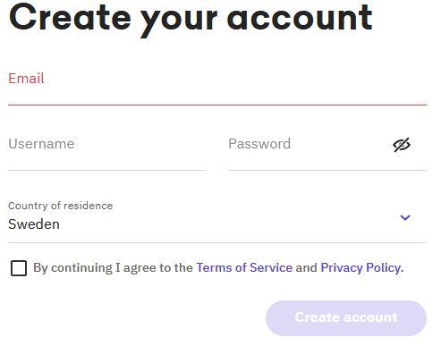 för att skapa ett konto hos kraken fyller man  i epostadress, användarnamn och lösenord samt vilket land man bor i
