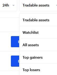 """coinbase erbjuder en hel del olika möjligheter till att följa kryptovalutor, som """"watchlists"""" eller topplistor bland annat"""