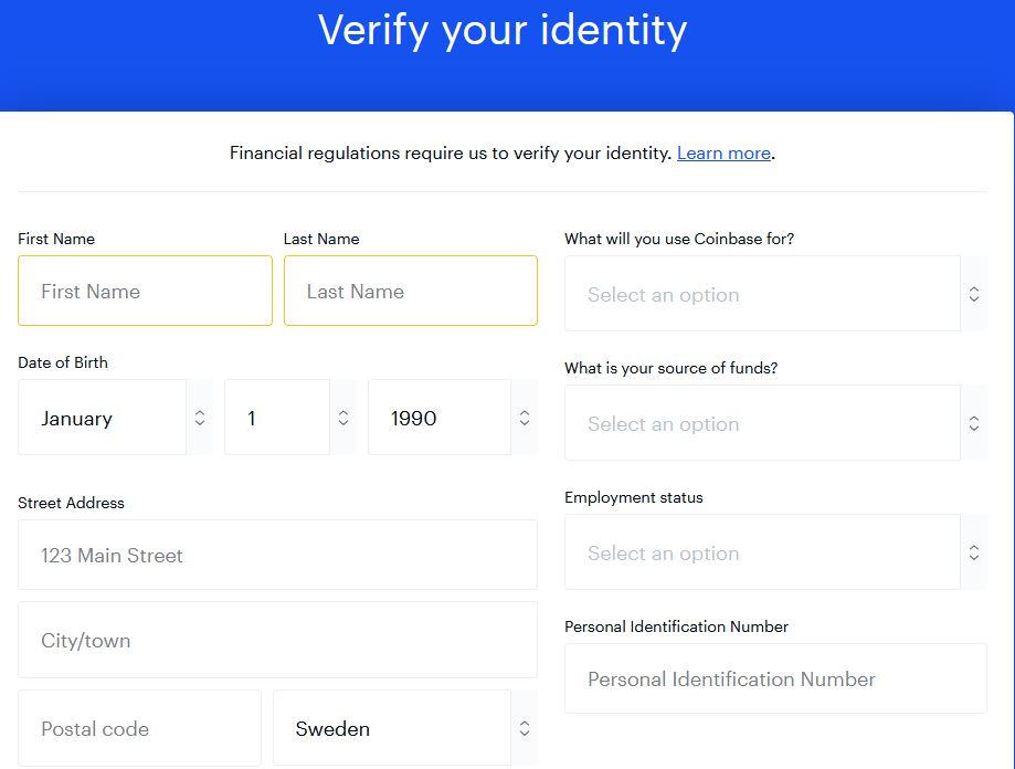 man måste även ange personuppgifter för att senare kunna verifiera sin identitent hos coinbase