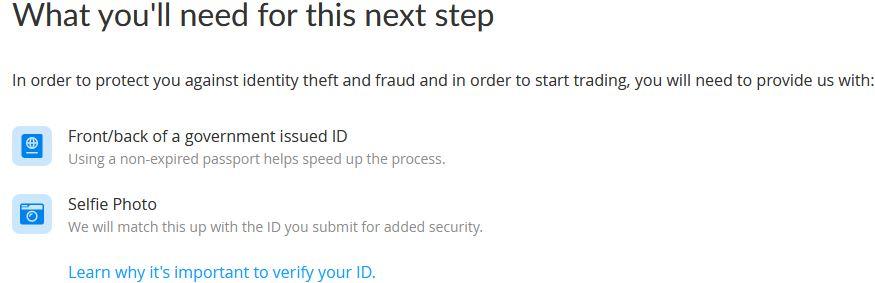 man måste ladda upp en bild på ett ID och en selfie för att verifiera sig på bittrex