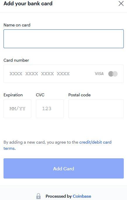 här lägger man till sitt betalkort till coinbase