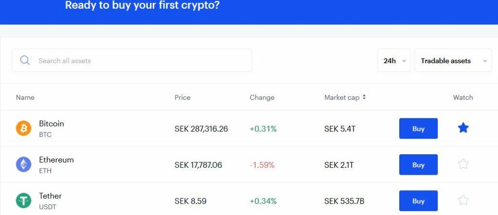 """här är en lista på coins hos coinbase och man tycker på """"buy"""" för att köpa"""
