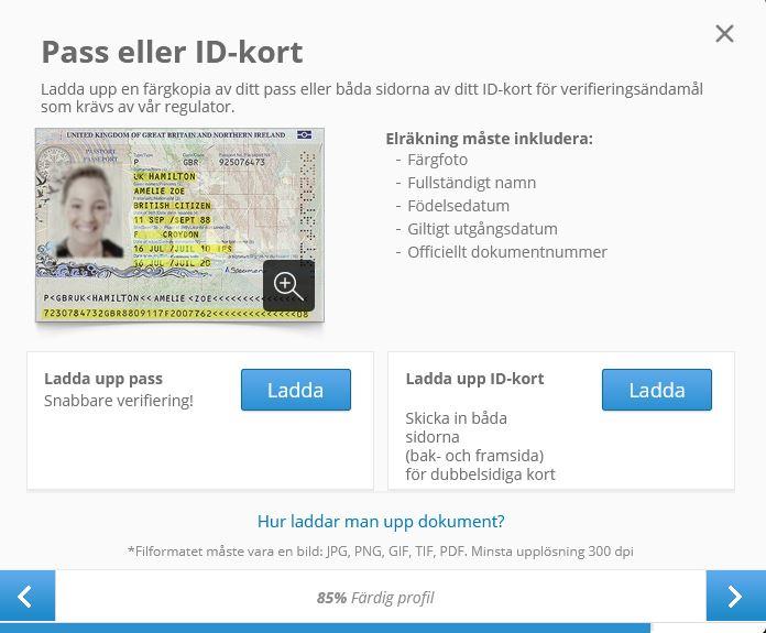 För att verifiera ditt konto måste du ladda upp en bild på ditt pass