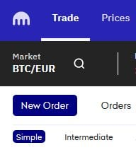 när man ska köpa kryptovaluta trycker man på new order på krakens hemsida