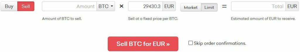 att sälja kryptovaluta på kraken är lika lätt som att köpa. fyll i vilken valuta du vill sälja och ange hur mycket du vill sälja