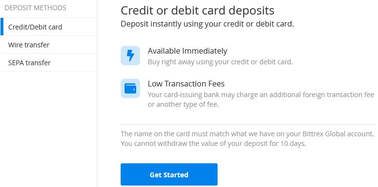 bittrex erbjuder kreditkort, sepa och banköverföring som betalmetoder