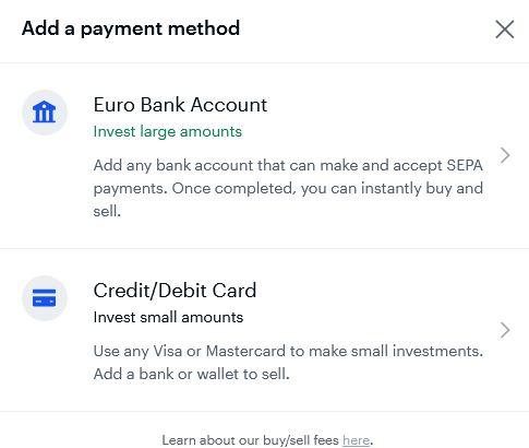 det är antingen kontokort/kreditkort som gäller vid insättningar till coinbase
