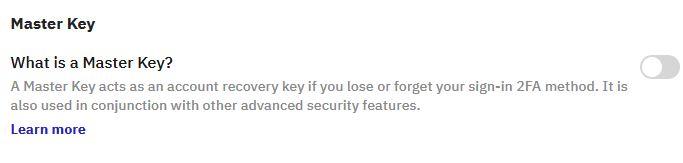 en masterkey är en nyckel som man kan använda för att få tillgång till sitt kraken konto trots att man tappat bort sin enhet för tvåfaktorsautentisering