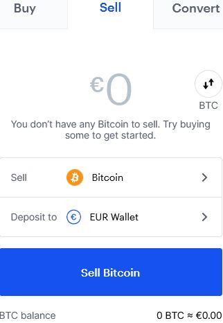 för att sälja kryptovaluta väljer man vilken valuta man vill sälja och hur mycket, sedan väljer man också vilken wallet man vill att beloppet man säljer för ska hamna i.