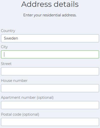 Här fyller man i adress och andra personuppgifter