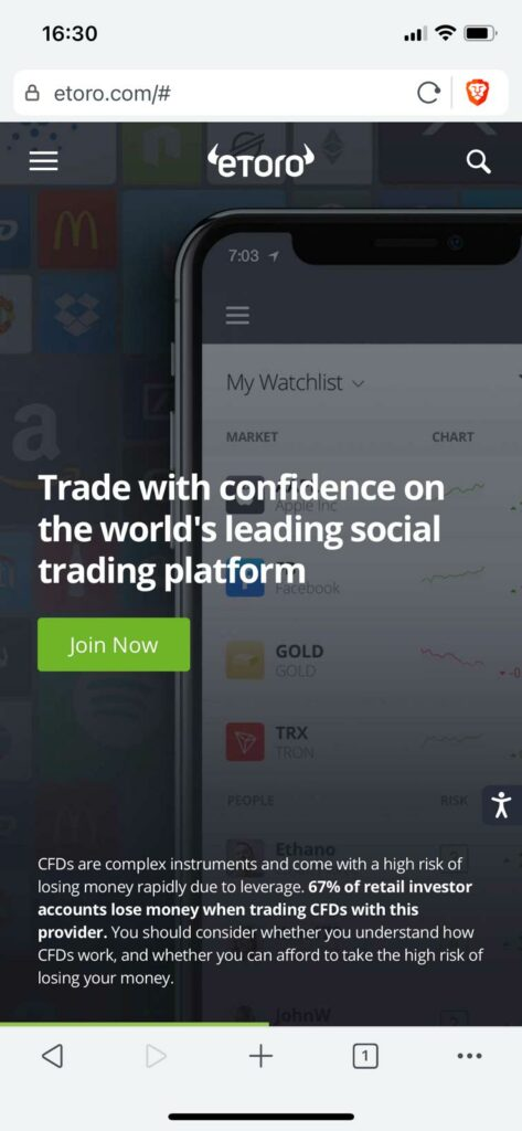 to register on etoro go to the website and click join now