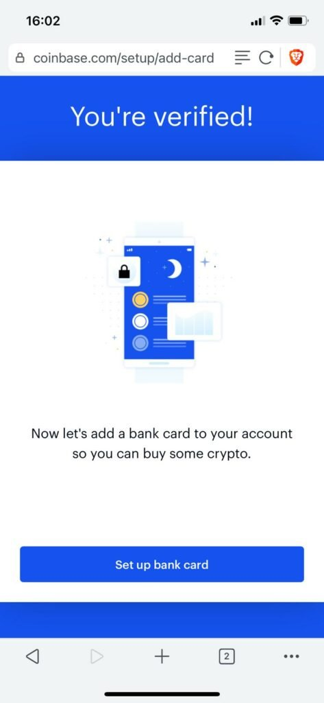 your verified on coinbase and can now deposit