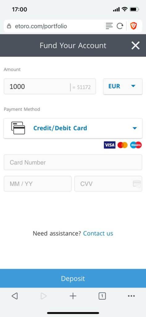 choose deposit method at etoro for depositing