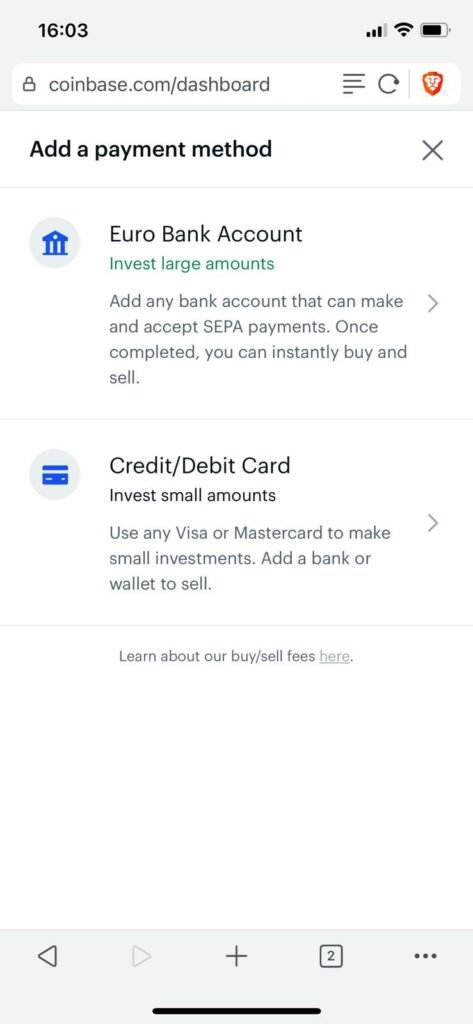 choose payment method at coinbase