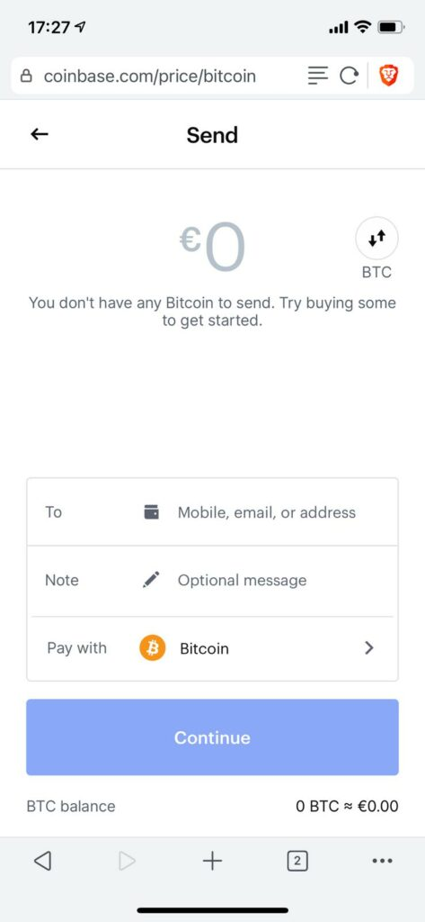 enter wallet address and amount, then click continue to send