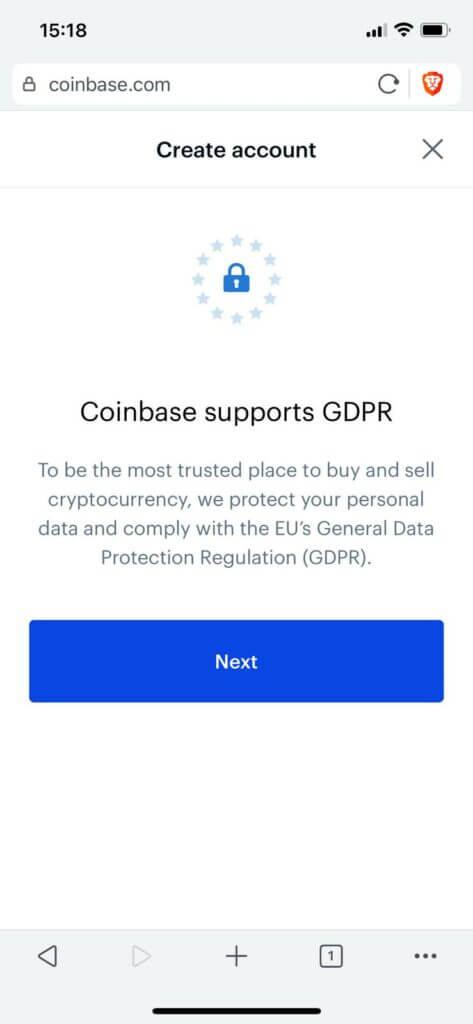 accept GDPR terms on coinbase