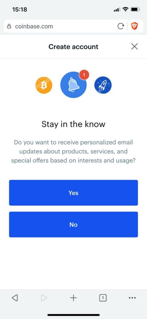 signup to the coinbase newsletter, or not