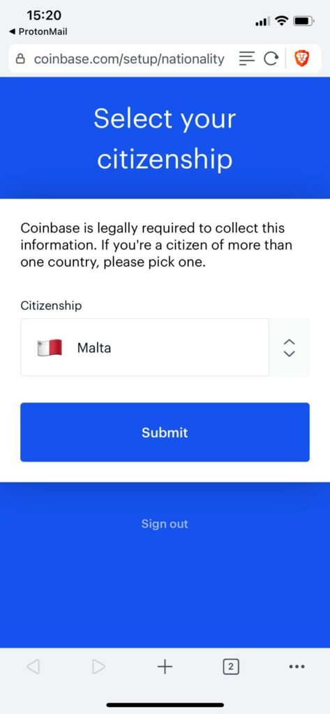 select which country you are a citizen in