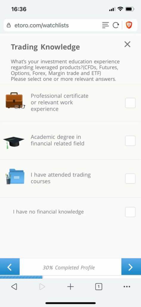 etoro configures your profile based on trading knowledge