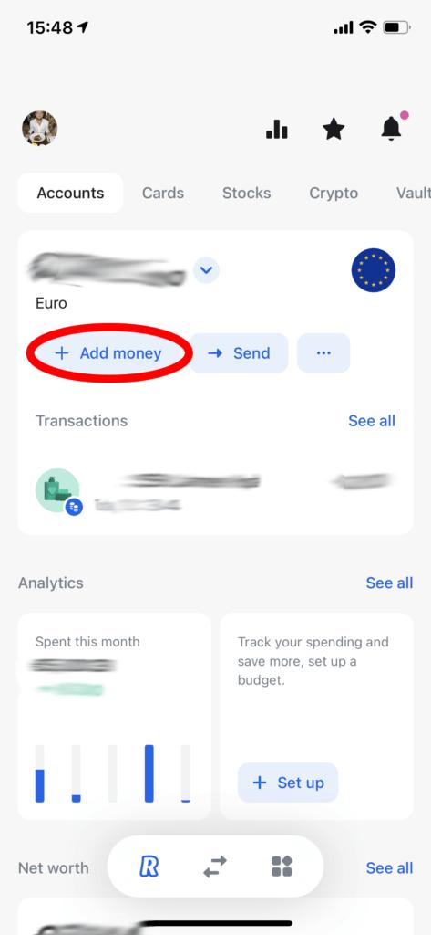 Add money at Revolut