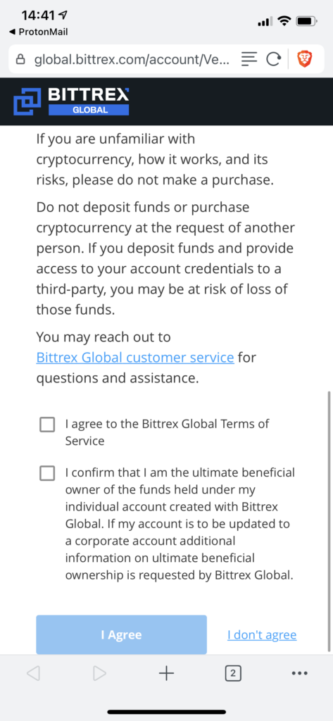 Accepting the terms at Bittrex