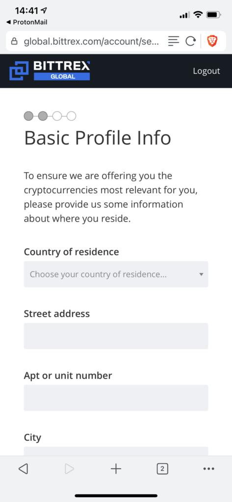 Basic profile info fields at Bittrex