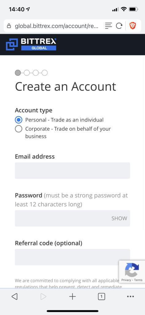 creating an account at Bittrex