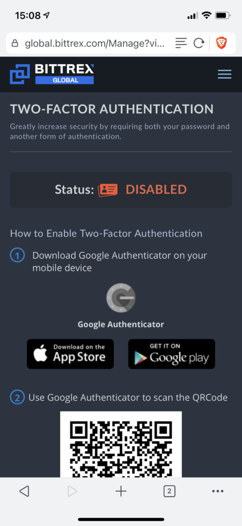 Enable 2FA at Bittrex
