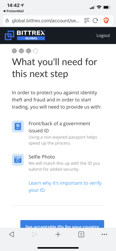 Select government ID Bittrex
