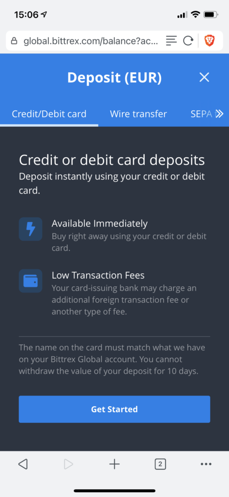 Select deposit method Bittrex