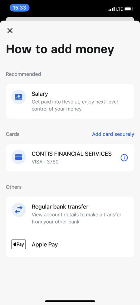 Payment methods at Revolut