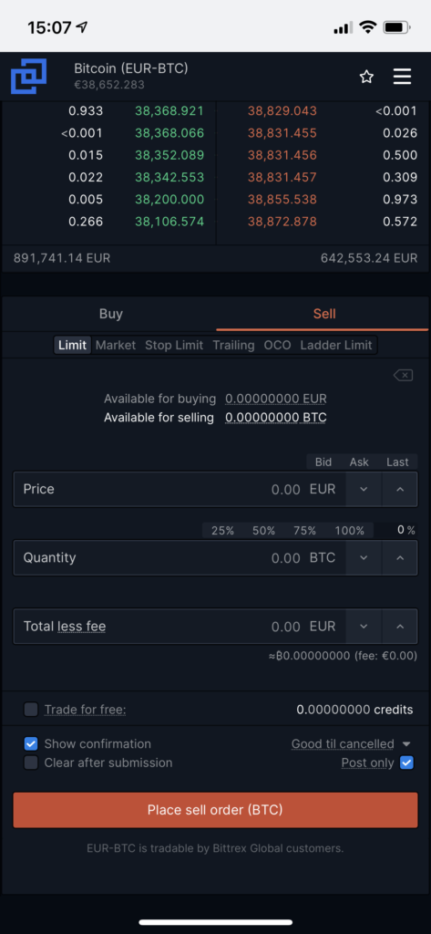 sell crypto at Bittrex