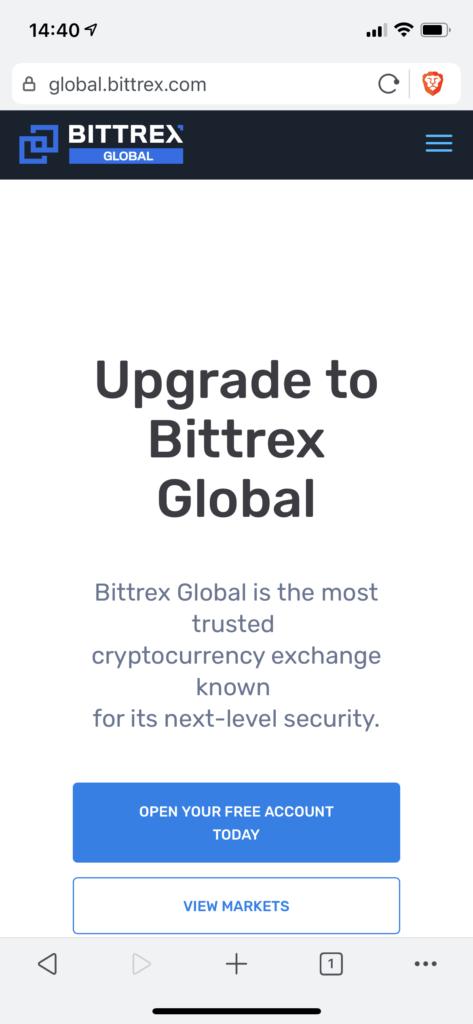Bittrex homepage mobile
