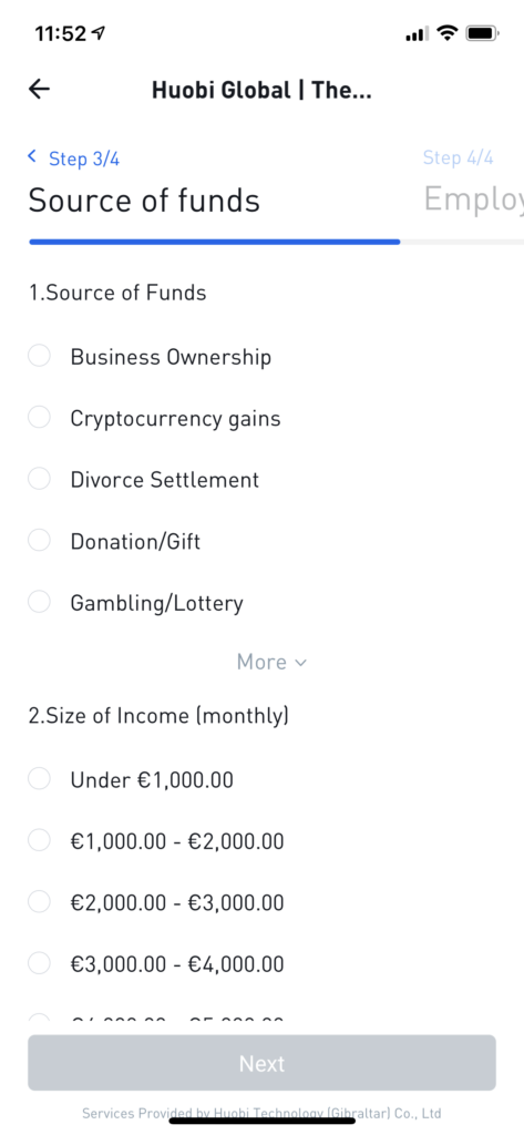 Source of funds Huobi