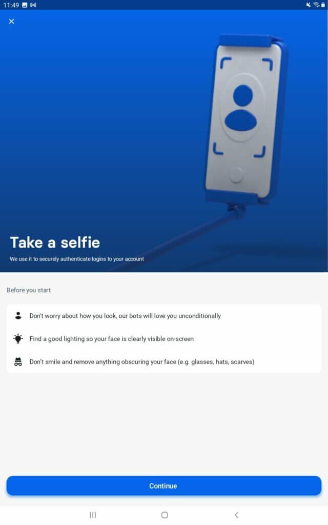 Take a selfie Revolut