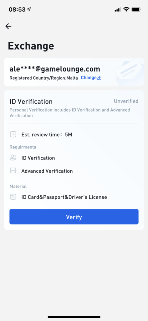 verify at Huobi