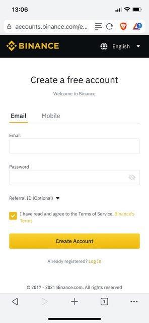creating an account on binance is very simple