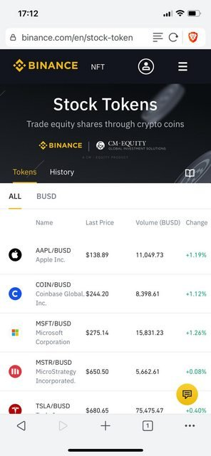 there is also an option to invest in stock on binance