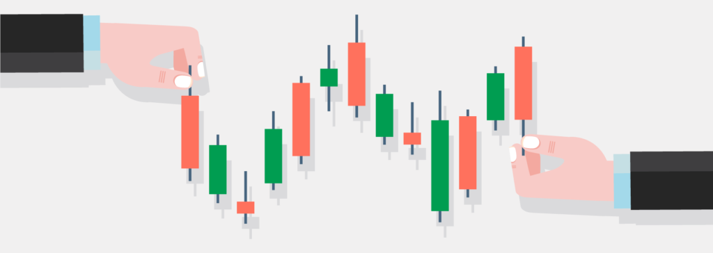 candlestick chart with hands holding the candles